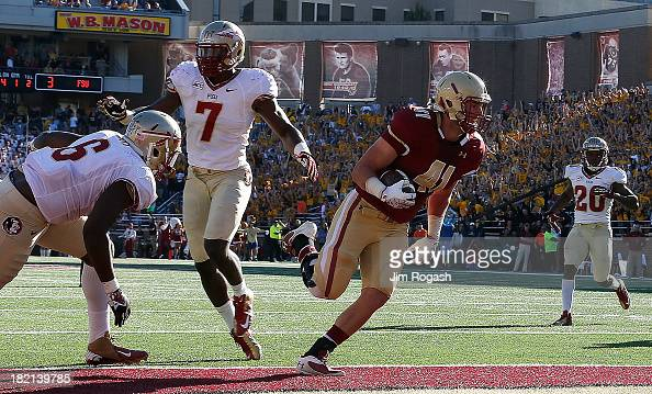 Jake Sinkovec of the Boston College Eagles scores a touchdown by Christian Jones of the Florida State Seminoles at Alumni Stadium on September 28...