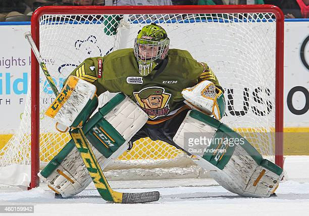 Jake Smith of the North Bay Battalion waits to face a shot against the London Knights in an OHL game at Budweiser Gardens on December 7 2014 in...