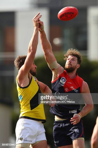 Jake Spencer of the Casey Demons competes in the air during the VFL Semi Final match between Casey and Richmond at Fortburn Stadium on September 9...