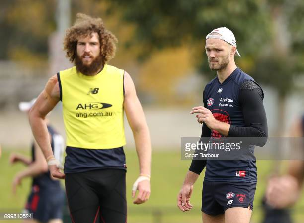 Jake Spencer of the Demons and Max Gawn of the Demons look on during a Melbourne Demons AFL training session at Gosch's Paddock on June 22 2017 in...