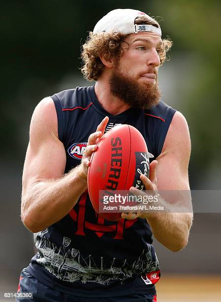Jake Spencer of the Demons in action during the Melbourne Demons training session at Gosch's Paddock on January 11 2017 in Melbourne Australia