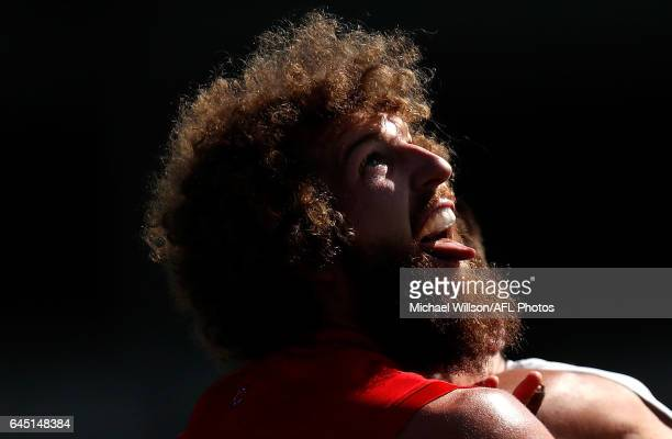 Jake Spencer of the Demons looks on during the AFL 2017 JLT Community Series match between the Melbourne Demons and the Carlton Blues at Casey Fields...