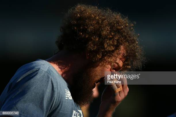 Jake Spencer of the Demons looks on following warm up's during the JLT Community Series AFL match between the West Coast Eagles and the Melbourne...