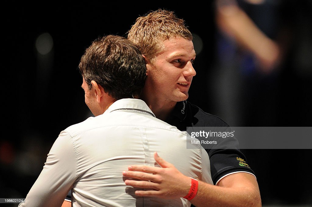 Jake Stringer hugs family member after being drafted to the Western Bulldogs during the 2012 AFL Draft at the Gold Coast Exhibition Centre on November 22, 2012 on the Gold Coast, Australia.