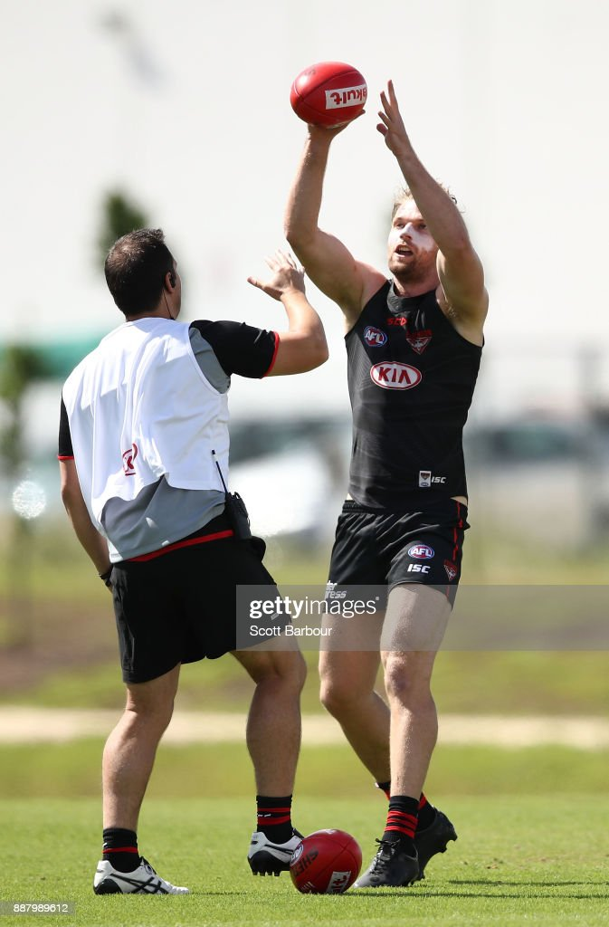 Jake Stringer of the Bombers catches the ball during an Essendon Bombers Media Announcement & Training Session at Essendon Football Club on December 8, 2017 in Melbourne, Australia.