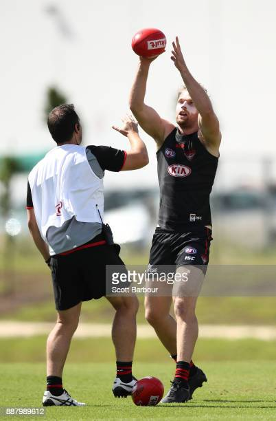 Jake Stringer of the Bombers catches the ball during an Essendon Bombers Media Announcement Training Session at Essendon Football Club on December 8...