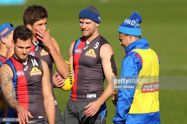 Jake Stringer of the Bulldogs and Jason Johannisen of the Bulldogs look on during a Western Bulldogs AFL training session at Whitten Oval on June 23...