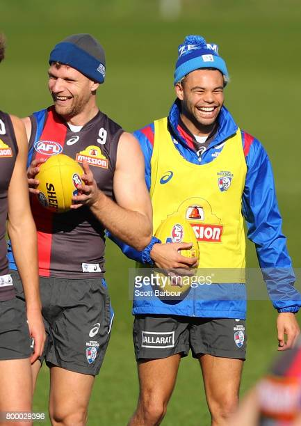 Jake Stringer of the Bulldogs and Jason Johannisen of the Bulldogs laugh during a Western Bulldogs AFL training session at Whitten Oval on June 23...