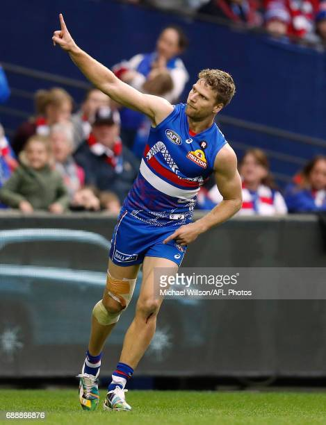 Jake Stringer of the Bulldogs celebrates a goal during the 2017 AFL round 10 match between the Western Bulldogs and the St Kilda Saints at Etihad...
