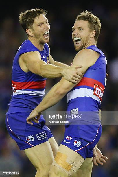 Jake Stringer of the Bulldogs celebrates a goal with Matthew Boyd during the round seven AFL match between the Western Bulldogs and the Adelaide...