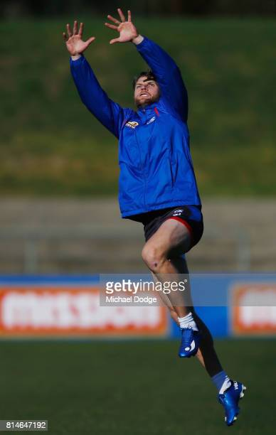 Jake Stringer of the Bulldogs marks the ball during a Western Bulldogs AFL training session at Whitten Oval on July 15 2017 in Melbourne Australia