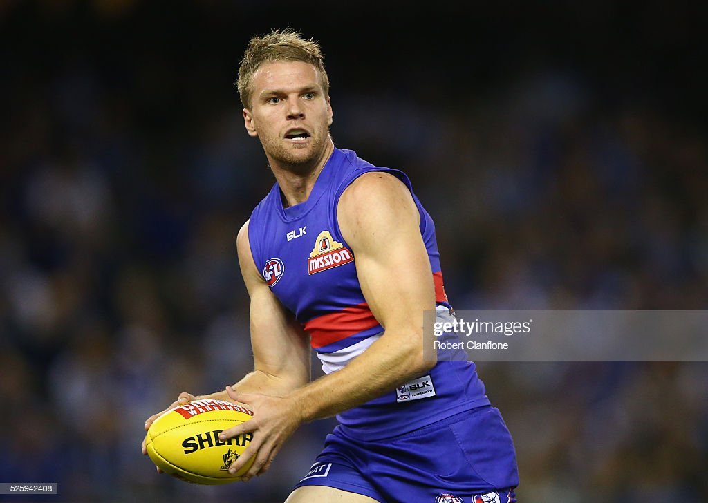 Jake Stringer of the Bulldogs runs with the ball during the round six AFL match between the North Melbourne Kangaroos and the Western Bulldogs at Etihad Stadium on April 29, 2016 in Melbourne, Australia.