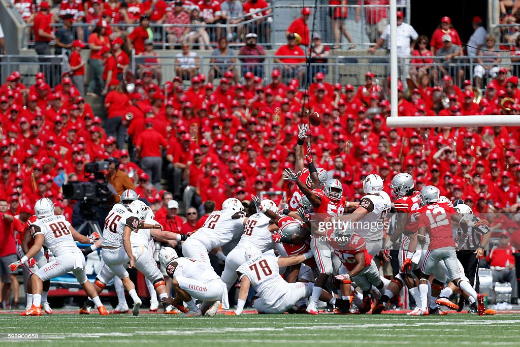Jake Suder #46 of the Bowling Green Falcons kicks an extra point during the first quarter of the game against the Ohio State Buckeyes on September 3, 2016 at Ohio Stadium in Columbus, Ohio.