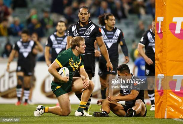 Jake Trbojevic of Australia scores a try during the ANZAC Test match between the Australian Kangaroos and the New Zealand Kiwis at GIO Stadium on May...