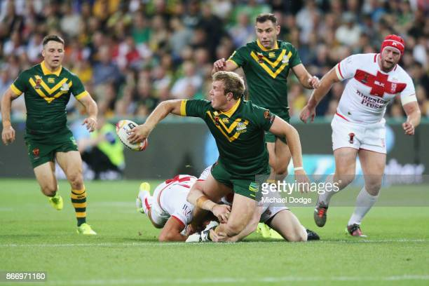 Jake Trbojevic of the Kangaroos look to pass the ball to Cooper Cronk of the Kangaroos during the 2017 Rugby League World Cup match between the...