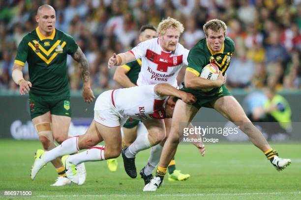 Jake Trbojevic of the Kangaroos runs with the ball during the 2017 Rugby League World Cup match between the Australian Kangaroos and England at AAMI...