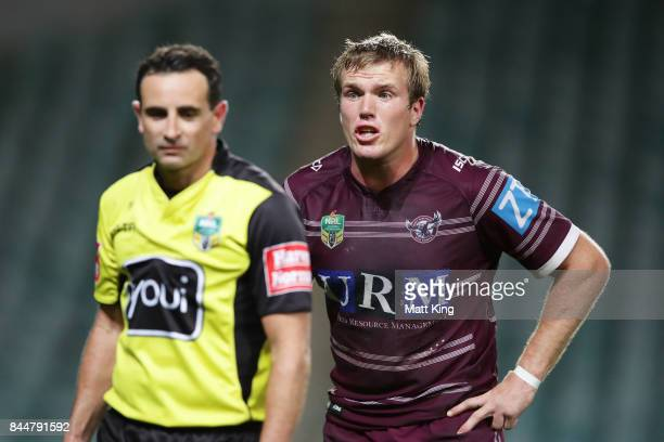 Jake Trbojevic of the Sea Eagles argues with referee Gerard Sutton after the match winning try to Tyrone Peachey of the Panthers during the NRL...