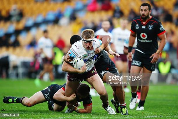 Jake Trbojevic of the Sea Eagles charges forward during the round 25 NRL match between the New Zealand Warriors and the Manly Sea Eagles at Mt Smart...