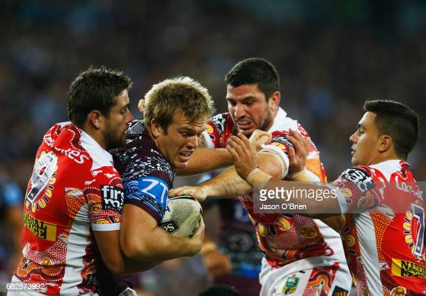 Jake Trbojevic of the Sea Eagles runs with the ball during the round 10 NRL match between the Manly Sea Eagles and the Brisbane Broncos at Suncorp...
