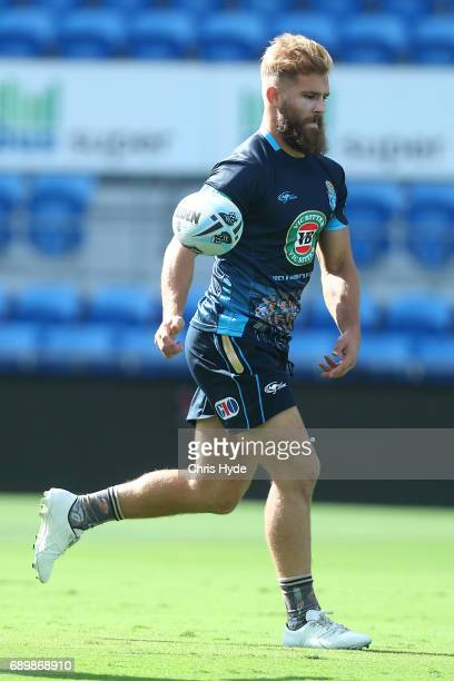 Jake Trbojevic passes during the New South Wales Blues State of Origin captain's run at Cbus Super Stadium on May 30 2017 in Gold Coast Australia
