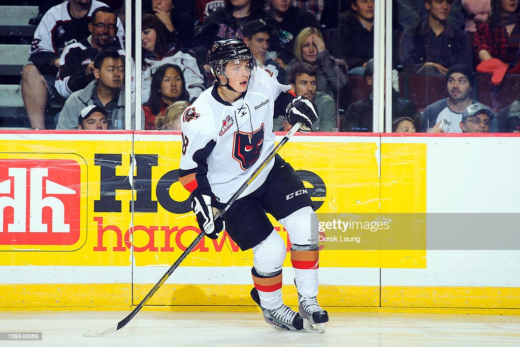Jake Virtanen of the Calgary Hitmen skates on the ice against the Vancouver Giants in WHL action on October 2012 at Pacific Coliseum in Vancouver...