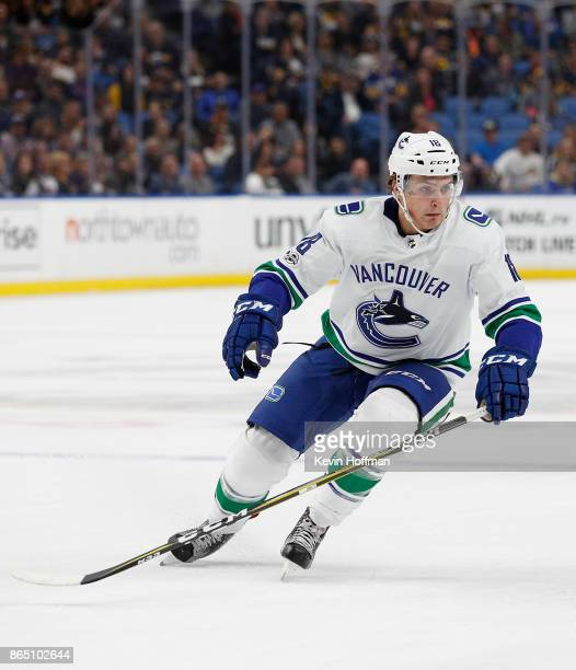 Jake Virtanen of the Vancouver Canucks during the game against the Buffalo Sabres at the KeyBank Center on October 20 2017 in Buffalo New York