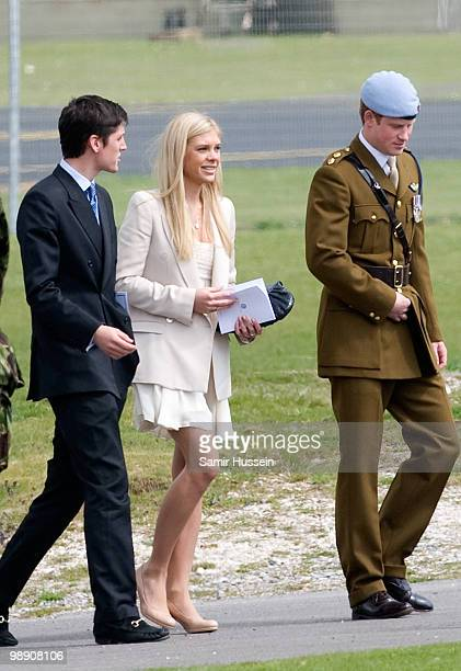 Jake Warren Chelsy Davy and Prince Harry leave after Prince Harry received his flying badges at the Museum of Army Flying on May 7 2010 in Middle...