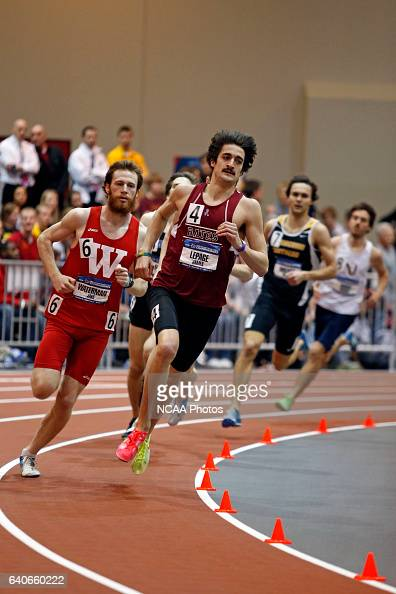 Jake Waterman of Wabash and James LePage of Bates lead the field in the Men's 800 meter run at the Division III Men's and Women's Indoor Track and...