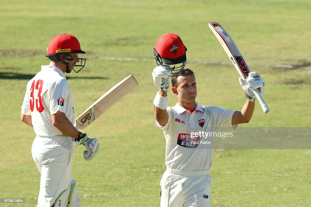 Jake Weatherald of South Australia celebrates his century during day two of the Sheffield Shield match between Western Australia and South Australia at WACA on November 14, 2017 in Perth, Australia.
