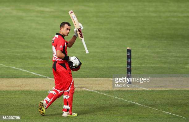 Jake Weatherald of the Redbacks celebrates and acknowledges the crowd after scoring a century during the JLT One Day Cup match between South...
