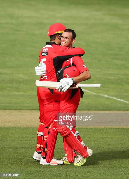 Jake Weatherald of the Redbacks celebrates with Alex Carey after scoring a century during the JLT One Day Cup match between South Australia and...