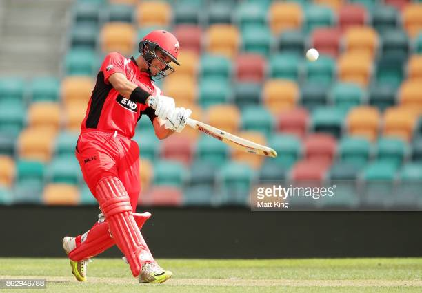 Jake Weatherald of the Redbacks hits a six during the JLT One Day Cup match between South Australia and Victoria at Blundstone Arena on October 19...