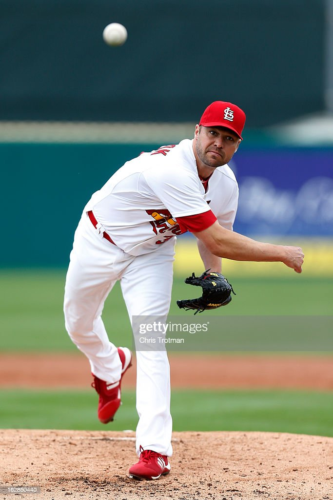 <a gi-track='captionPersonalityLinkClicked' href=/galleries/search?phrase=Jake+Westbrook&family=editorial&specificpeople=207132 ng-click='$event.stopPropagation()'>Jake Westbrook</a> #35 of the St. Louis Cardinals delivers a pitch against the Miami Marlins at Roger Dean Stadium on February 28, 2013 in Jupiter, Florida.