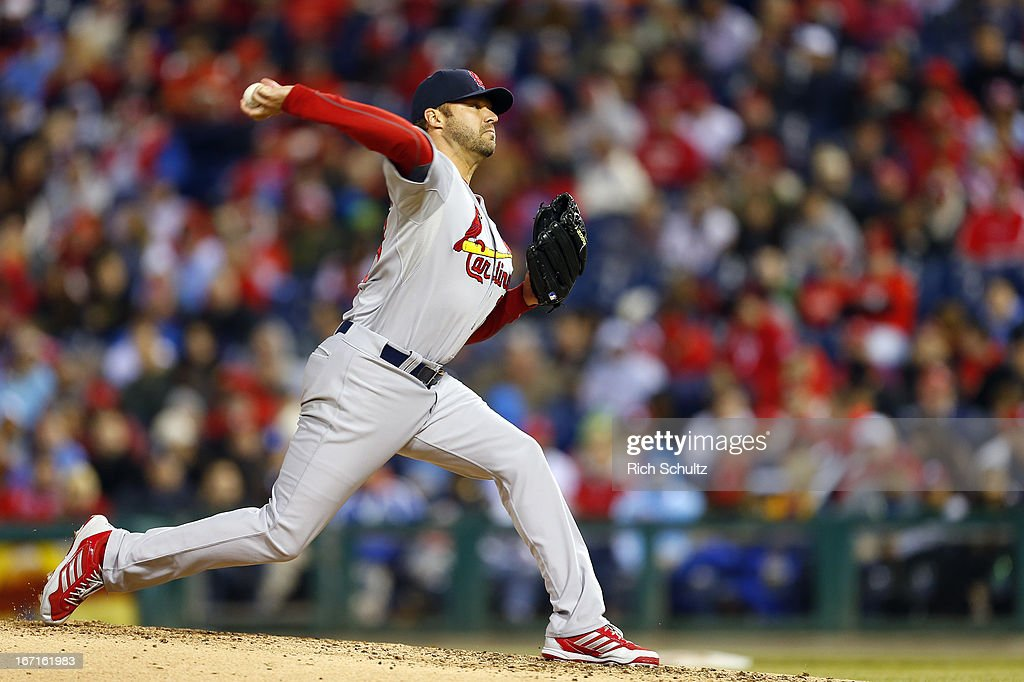 <a gi-track='captionPersonalityLinkClicked' href=/galleries/search?phrase=Jake+Westbrook&family=editorial&specificpeople=207132 ng-click='$event.stopPropagation()'>Jake Westbrook</a> #35 of the St. Louis Cardinals delivers a pitch against the Philadelphia Phillies in a MLB baseball game on April 21, 2013 at Citizens Bank Park in Philadelphia, Pennsylvania. The Phillies defeated the Cardinals 7-3.