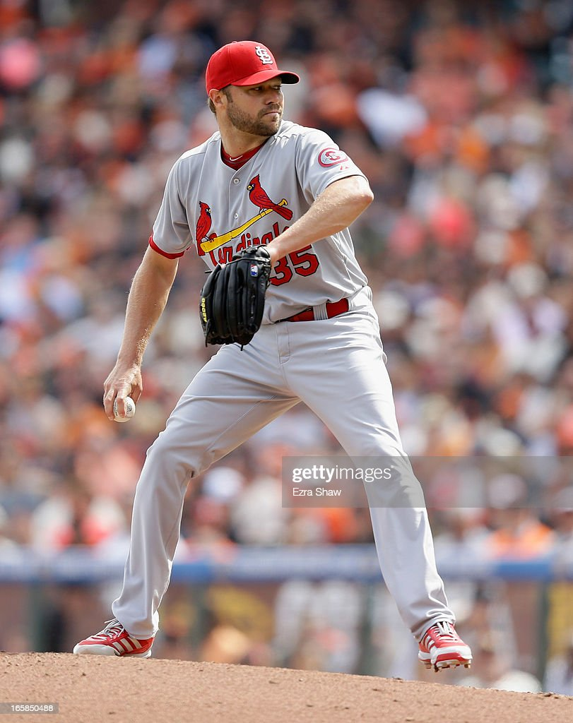 <a gi-track='captionPersonalityLinkClicked' href=/galleries/search?phrase=Jake+Westbrook&family=editorial&specificpeople=207132 ng-click='$event.stopPropagation()'>Jake Westbrook</a> #35 of the St. Louis Cardinals pitches against the San Francisco Giants at AT&T Park on April 5, 2013 in San Francisco, California.
