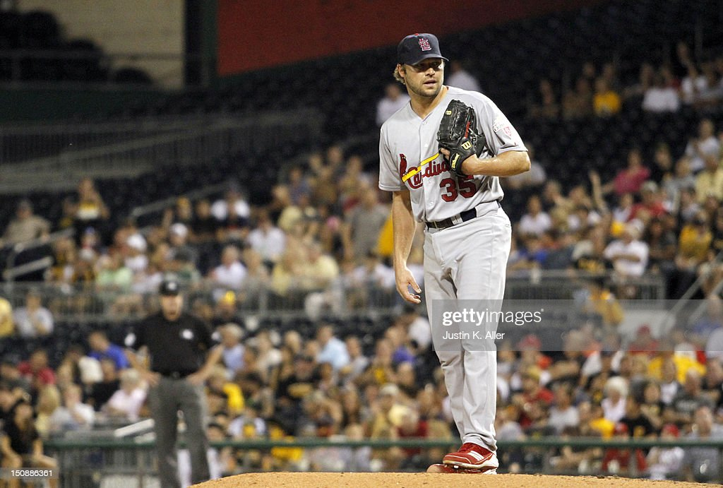 <a gi-track='captionPersonalityLinkClicked' href=/galleries/search?phrase=Jake+Westbrook&family=editorial&specificpeople=207132 ng-click='$event.stopPropagation()'>Jake Westbrook</a> #35 of the St. Louis Cardinals reacts during the fifth inning against the Pittsburgh Pirates during the game on August 28, 2012 at PNC Park in Pittsburgh, Pennsylvania.