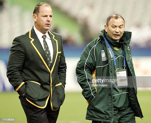 Jake White and Eddie Jones of South Africa walk around the pitch ahead of the IRB 2007 Rugby World Cup final match between South Africa and England...