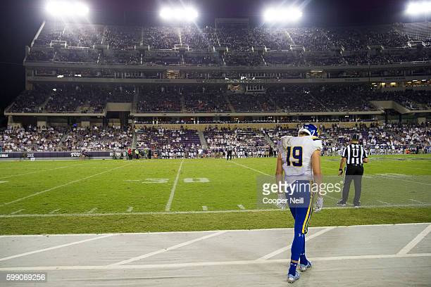 Jake Wieneke of the South Dakota State Jackrabbits stands alone on the sideline during the 4th quarter against the TCU Horned Frogs on September 3...