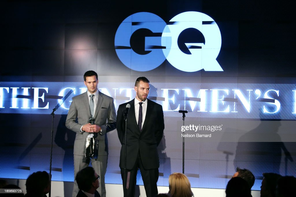 Jake Wood and GQ Leader Awards Winner Josh Zabar speak onstage at the 2013 GQ Gentlemen's Ball presented by BMW i, Movado, and Nautica at IAC Building on October 23, 2013 in New York City.