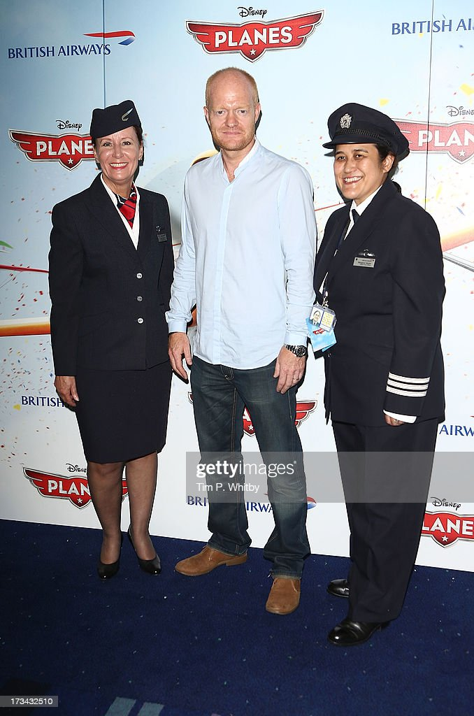 <a gi-track='captionPersonalityLinkClicked' href=/galleries/search?phrase=Jake+Wood+-+British+Actor&family=editorial&specificpeople=15203702 ng-click='$event.stopPropagation()'>Jake Wood</a> poses with British Airways Ambassadors at a special screening of Disney's 'Planes' at Odeon Leicester Square on July 14, 2013 in London, England.