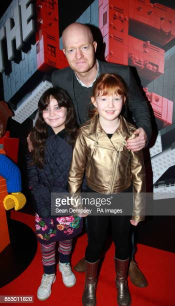 Jake Wood with daughter Amber and friend Lydia arriving at a celebrity screening of The Lego Movie at the Vue West End Leicester Square London