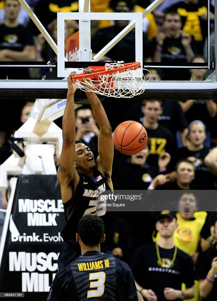 Jakeenan Gant of the Missouri Tigers dunks during the game against the Florida Gators at Mizzou Arena on February 24 2015 in Columbia Missouri