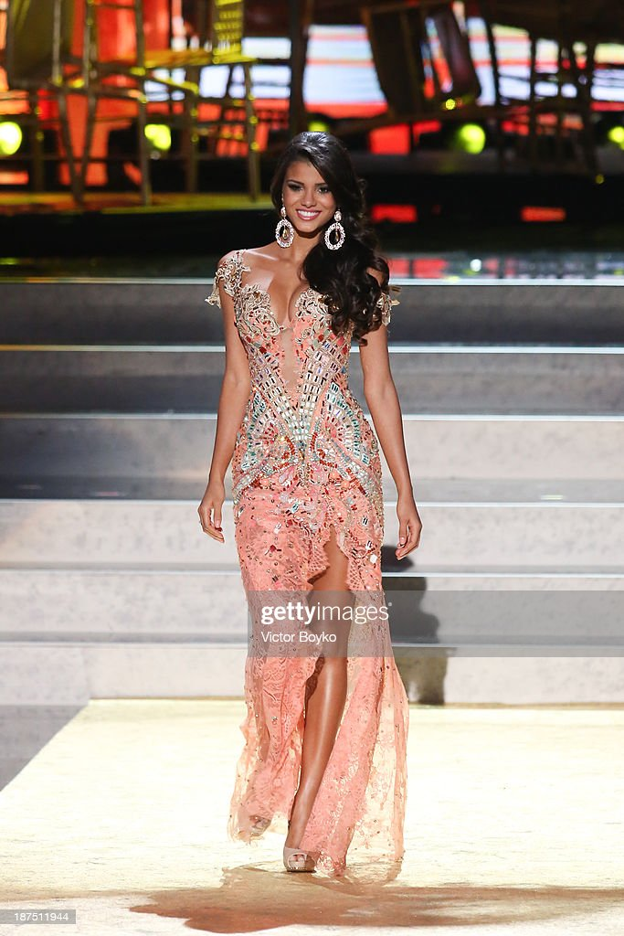 Jakelyne Oliveira of Brazil walks the stage during the Miss Universe Pageant Competition 2013 on November 9, 2013 in Moscow, Russia.