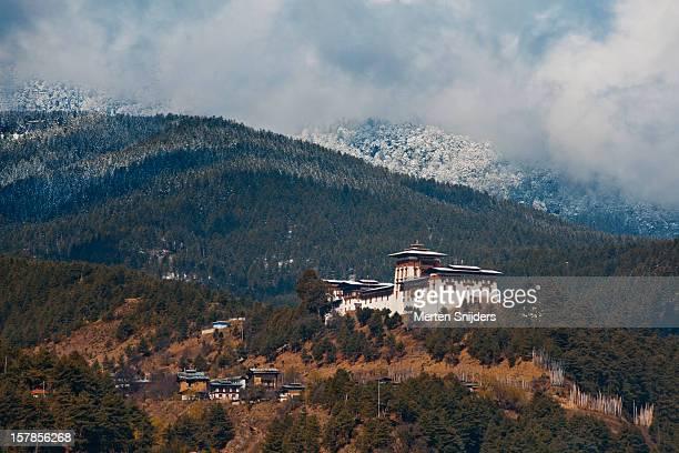Jakhar Dzong around mountains.