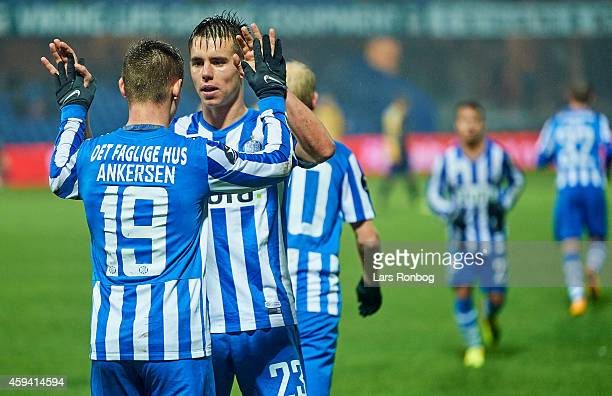 Jakob Ankersen of Esbjerg FB celebrates with team mate Jonas Knudsen after scoring their second goal during the Danish Superliga match between...