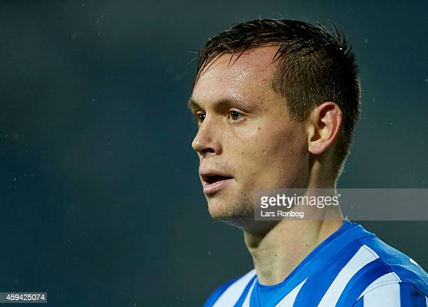 Jakob Ankersen of Esbjerg FB looks on during the Danish Superliga match between Esbjerg FB and Hobro IK at Blue Water Arena on November 22 2014 in...