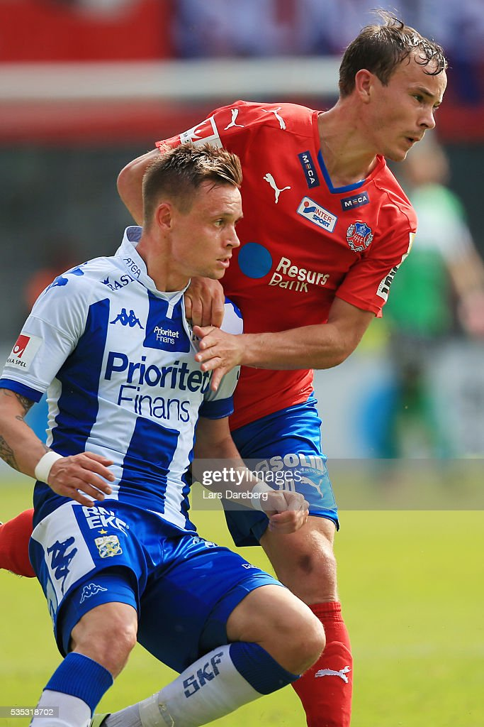 Jakob Ankersen of IFK Goteborg and Anton Wede of Helsingborgs IF during the Allsvenskan match between Helsingborgs IF and IFK Goteborg at Olympia on May 29, 2016 in Helsingborg, Sweden.