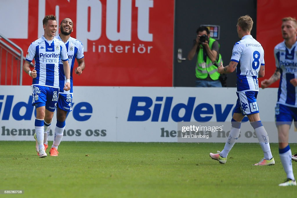 Jakob Ankersen of IFK Goteborg celebrate his 1-0 goal during the Allsvenskan match between Helsingborgs IF and IFK Goteborg at Olympia on May 29, 2016 in Helsingborg, Sweden.