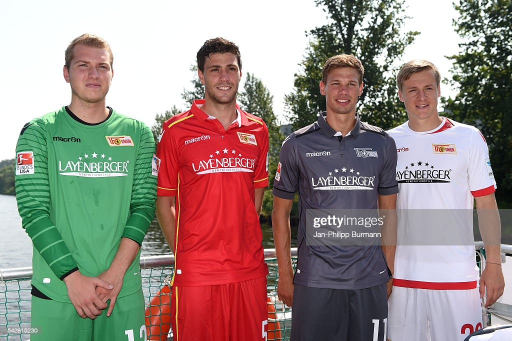 Jakob Busk, Benjamin Kessel, Maximilian Thiel and Felix Kroos of 1 FC Union Berlin during the presentation of the new shirts of Union Berlin on june 25, 2016 in Berlin, Germany.
