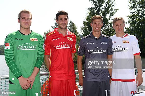 Jakob Busk Benjamin Kessel Maximilian Thiel and Felix Kroos of 1 FC Union Berlin during the presentation of the new shirts of Union Berlin on june 25...
